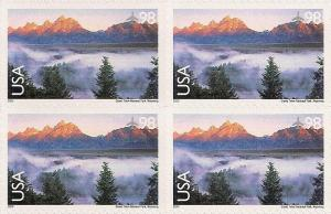 US C147 Airmail Grand Teton National Park 98c block (4 stamps) MNH 2009