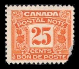 CANADA REVENUE 1932 #FPS14 25c ORANGE USED RARE POSTAL NOTE TAX CV $10. SEE SCAN