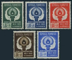 Indonesia B63-B67,MNH.Michel 89-93. 2nd National Games,1951.Wings and Flame.