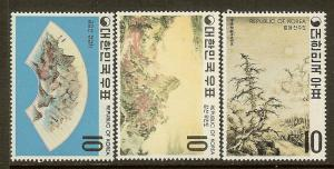 Korea, Scott #'s 715-717,10w Painting Issues, MLH