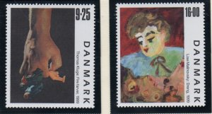 Denmark  Scott  1160-1  1999 Contemporary Paintings stamp set mint NH