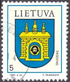Lithuania # 454 used ~ 5¢ Coat of Arms - Skuodas