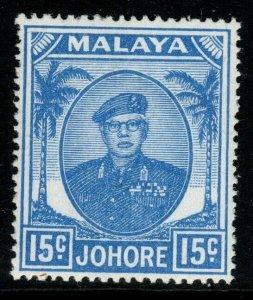 MALAYA JOHORE SG140 1949 15c ULTRAMARINE MNH