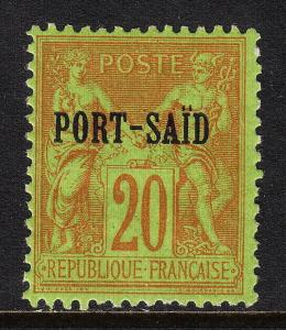 FRENCH OFFICES (PORT SAID) — SCOTT 8 — 1899 20c PEACE/COMMERCE — MH — SCV $17.00