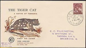 AUSTRALIA 1958 WCS FDC 8d Tiger Cat - issue date change handstamp...........9361
