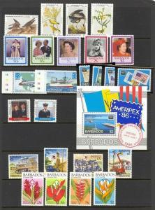 Barbados Scott 665 // 696 Mint NH (7 sets) Catalog Value $50.85