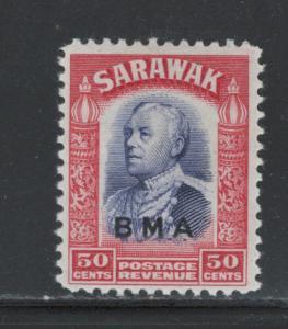 Sarawak 1945 Sir Charles Vyner Brooke Overprint 50c Scott # 148 MH