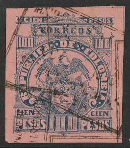 COLOMBIA : 1902 Arms 100P deep blue on deep rose, imperf top value.