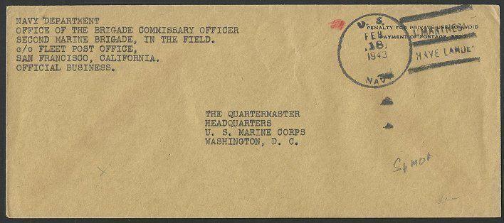 US SAMOA 1943 cover : US NAVY / MARINES HAVE LANDED duplex.................50413