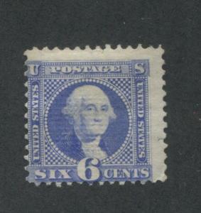1869 US Stamp #115 6c Mint Average No Gum Hinged Catalogue Value $1000