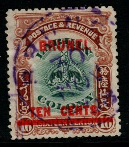 BRUNEI SG18 1906 10c on 16c GREEN & BROWN FINE USED