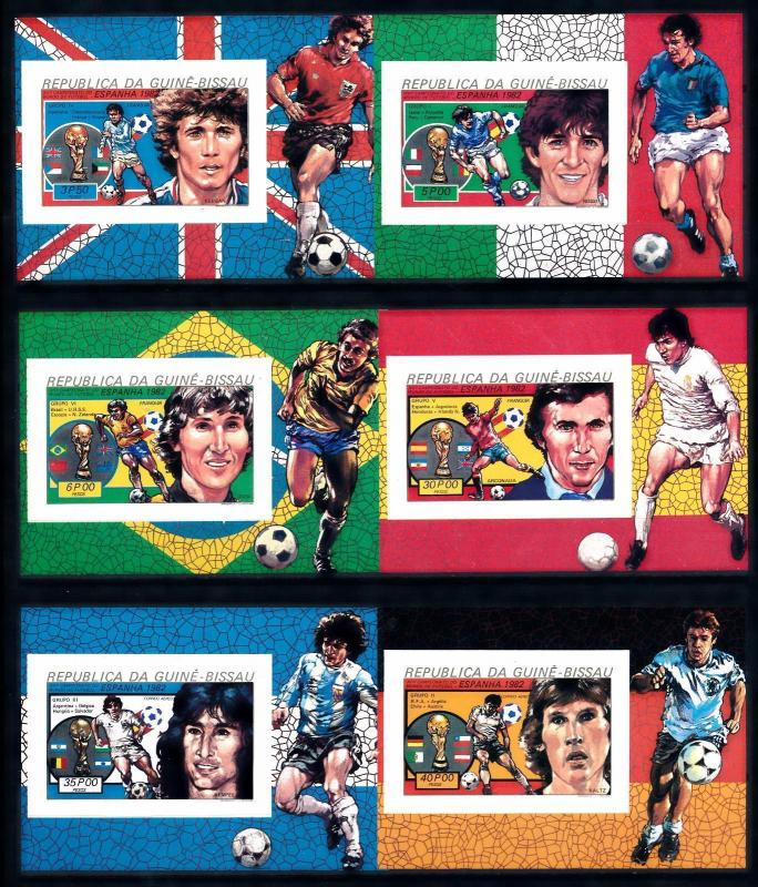 [60630] Guinea Bissau 1982 World Cup Soccer Spain Imperf. 6 sheets MNH Sheets