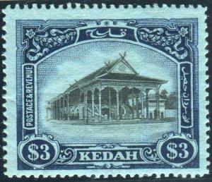 KEDAH-1912 $3 Black & Blue/Blue.  A mounted mint example Sg 13