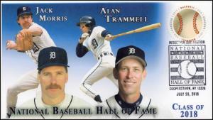18-148, 2018, Baseball Hall of Fame, Pictorial Postmark, Jack Morris, Alan Tramm