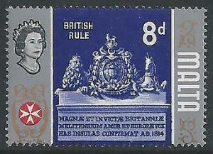 1965 8d British Rule MISSING GOLD from centre. SG 339a.