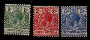 British Honduras Sc 85-7 1915 G V stamp set with moire overprint mint