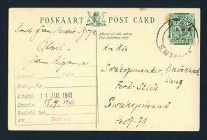 SOUTH WEST AFRICA 1941 Postcard OTAVI to SWAKOPMUND
