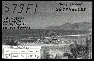 QSL QSO RADIO CARD Mahe Island,Seychelles,Kurt Wetter,S7gF1, (Q2957)