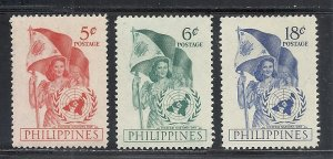 Philippines #569-71 comp mnh cv $3.75 United Nations Flags