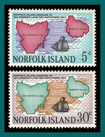 Norfolk Islands MNH 123-4 Maps Of Norfolk