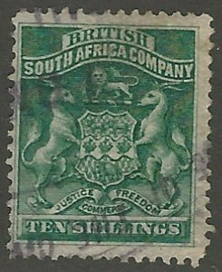 Rhodesia, Scott #15, 10sh deep green, used, fine-very fine, Coat of Arms
