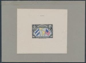 HONDURAS #C99bP DIE PROOF ON INDIA ON CARD WITH CONTROL NO. BS3589