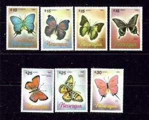 Nicaragua 1567-73 MNH 1986 Butterflies