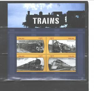 PALAU, 2014 TRAINS  #1427  MS, MNH