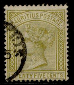 MAURITIUS QV SG110, 25c olive-yellow, FINE USED.