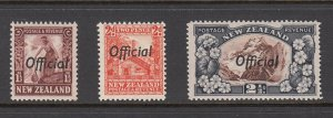 NEW ZEALAND SC# O63, O64, O65 OFFICIAL STAMPS - MH