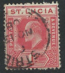 St Lucia 1904 - 1d Edward VII - SG67 used