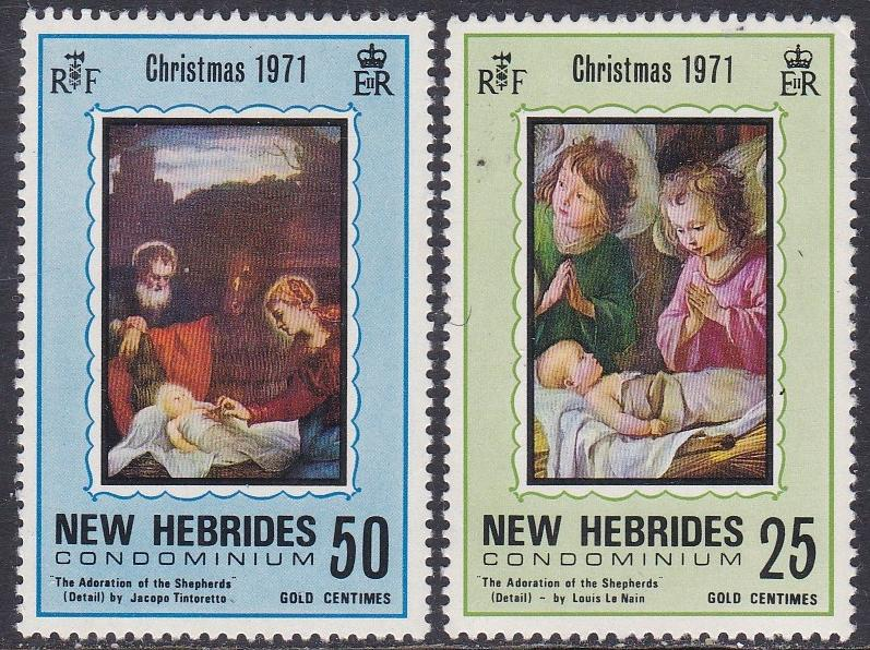 Br. New Hebrides, # 149-150, Christmas, NH