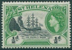St Helena 1953 SG153 ½d black and green Colony Badge QEII MNH