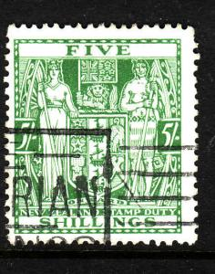 New Zealand-Sc #AR50-used 5sh green Postal-Fiscal coat of arms-1931-39-
