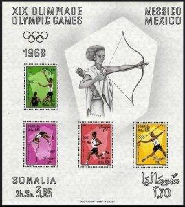 Somalia 339a sheet,MNH.Mi Bl.2. Olympics Mexico-1968.Javelin,Running,Basketball,