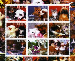 Turkmenistan 2000 Cats & Dogs Sheet (9) Perforated mnh.vf