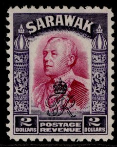 SARAWAK GVI SG163, $2 bright purple & violet, M MINT.