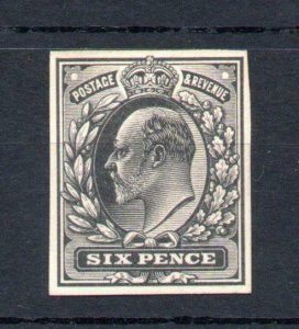 EDWARD VII 6d PLATE PROOF IN BLACK ON WHITE CARD Cat £150