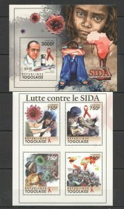 TG1047 2011 TOGO SCIENCE RED CROSS FIGHT AGAINST AIDS CONTRE SIDA BL+KB MNH
