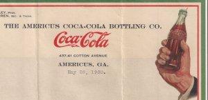 AMERICUS GA COCA-COLA LETTERHEAD hand with bottle design 1930 Fresh Dixie Hounds