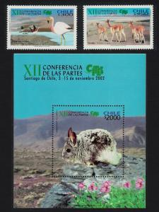 Chile Birds Flamingos Chinchilla Vicuna Endangered Species 2v+MS SG#2062-MS2064
