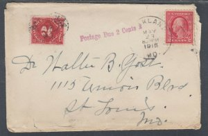 US Sc 463, J53 on 1915 Postage Due Cover to St. Louis