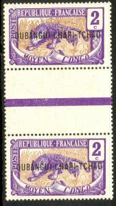 UBANGI-SHARI 1915-22 2c LEOPARD Sc 2 GUTTER PAIR MNH