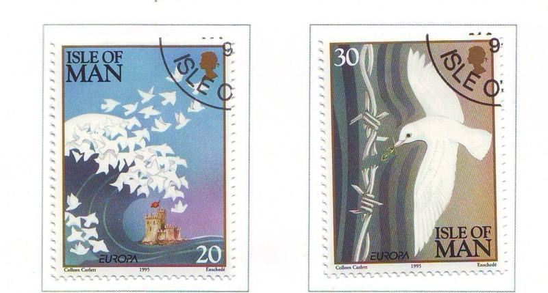 Isle of Man Sc 633-4 1995 Europa Peace Freedom stamp set
