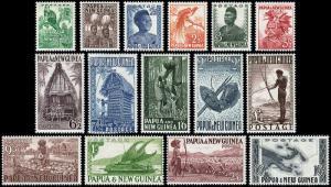 Papua Scott 122-136 (1952) Mint NH/LH VF Complete Set, CV $102.95 B