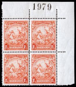 Barbados Scott 168b Plate Block of 4 (1925) Mint NH F-VF C