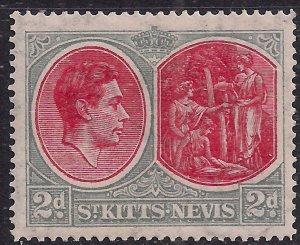 St Kitts & Nevis 1938 - 50 KGV1 2d Scarlet & Grey MM SG 71b ( J1181 )