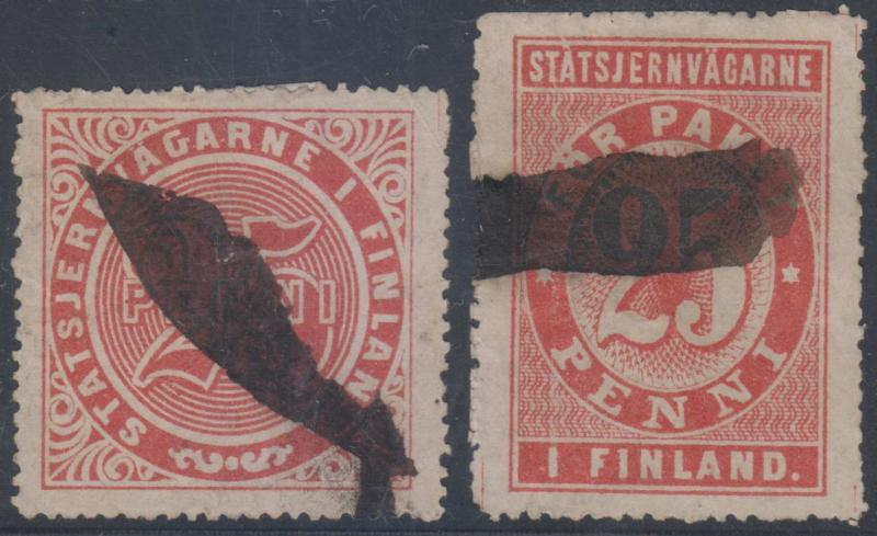FINLAND 1875 STATE RAILROAD PARCEL POST STAMPS TWO 25p USED STAMPS F,VF