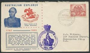 AUSTRALIA 1946 Mitchell Explorer commem cover and postmark.............39758