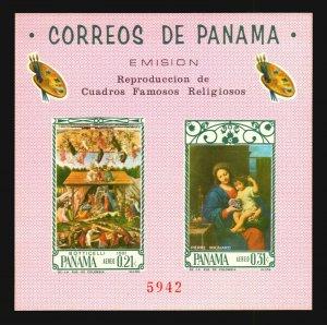 Panama MNH Art Painting religious Botticelli Angel Madonna fruit & bunch grapes